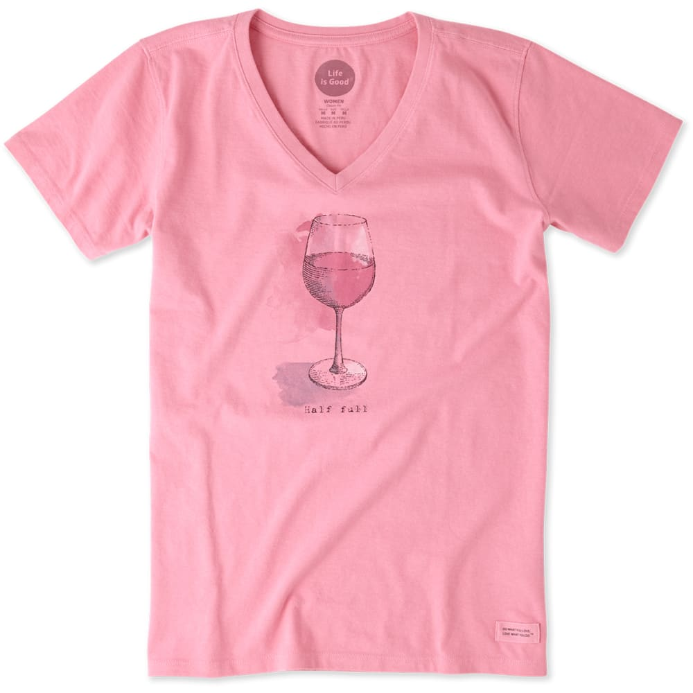 LIFE IS GOOD Women's Half Full Wine Glass Crusher V-Neck Tee - ROSE PINK