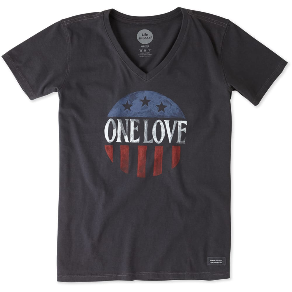 LIFE IS GOOD Women's One Love July 4th Crusher V-Neck Tee - NIGHT BLACK