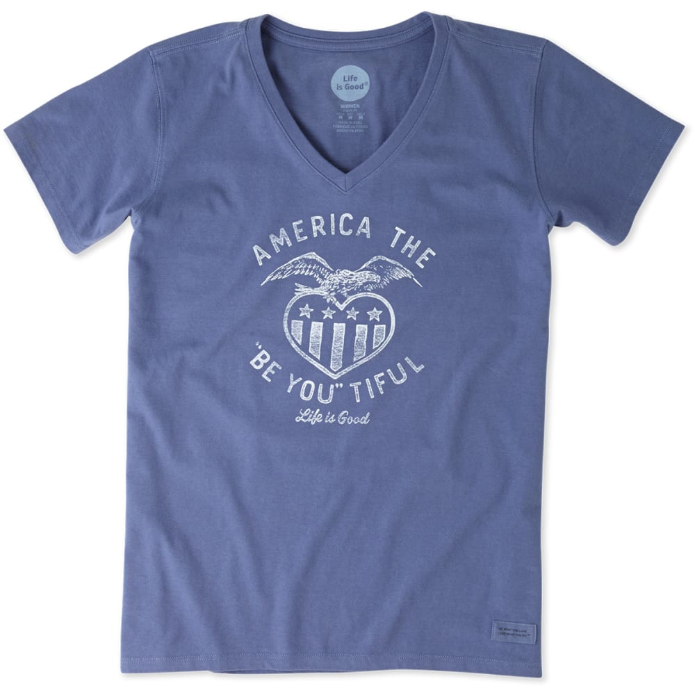 LIFE IS GOOD Women's Be You America Crusher V-Neck Tee - ANCHOR BLUE