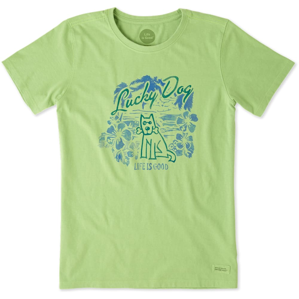 LIFE IS GOOD Women's Lucky Dog Crusher Tee - FERN GRN