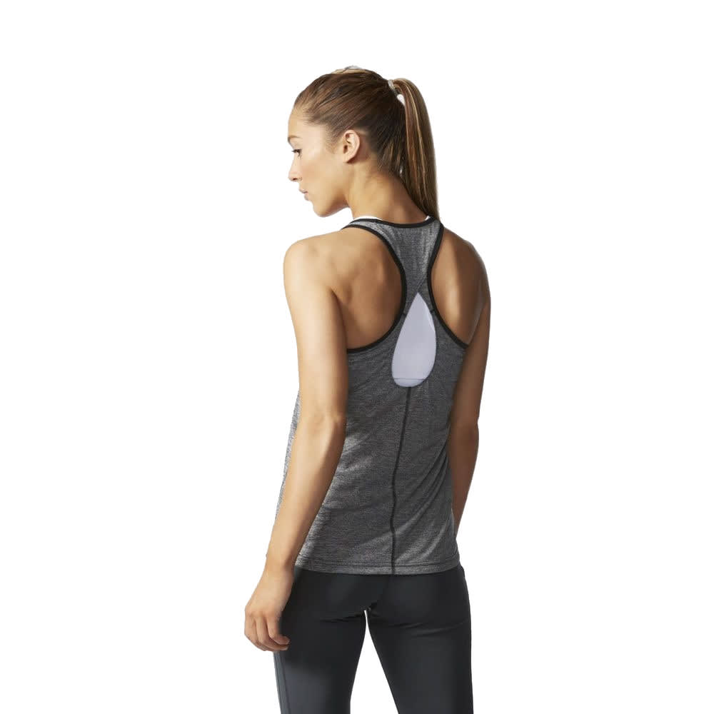 ADIDAS Women's Keyhole Tank - BLACK HEATHER-AJ1050