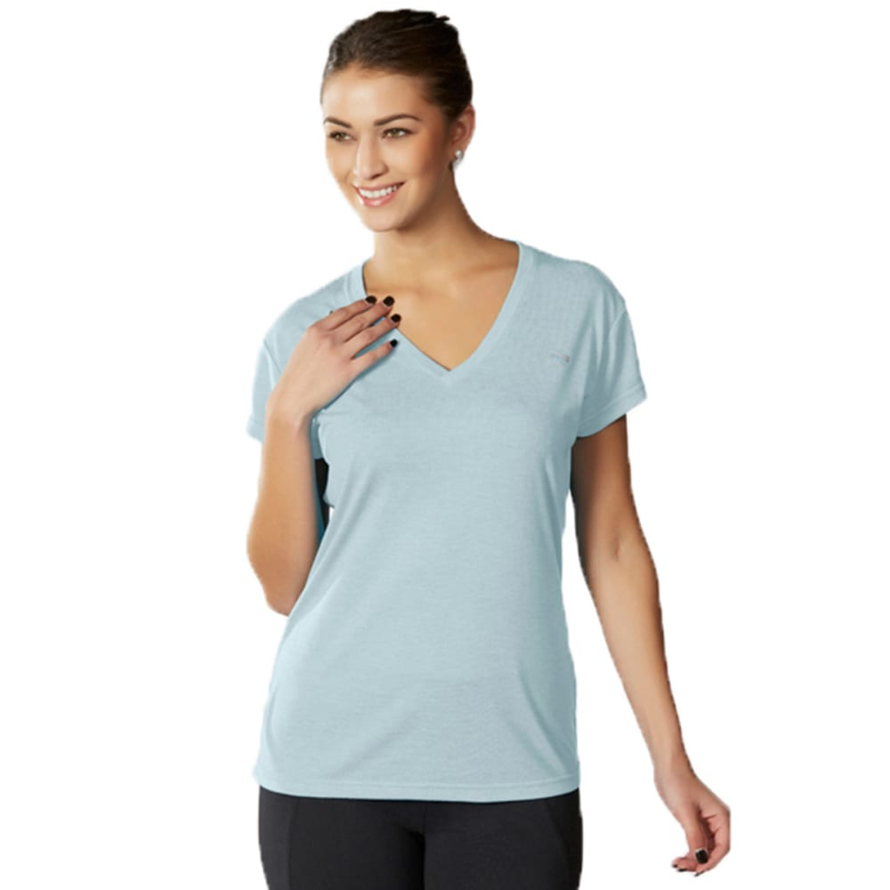 MARIKA Women's Tek V-Neck Tee - HEATHER CORYDALIS BL