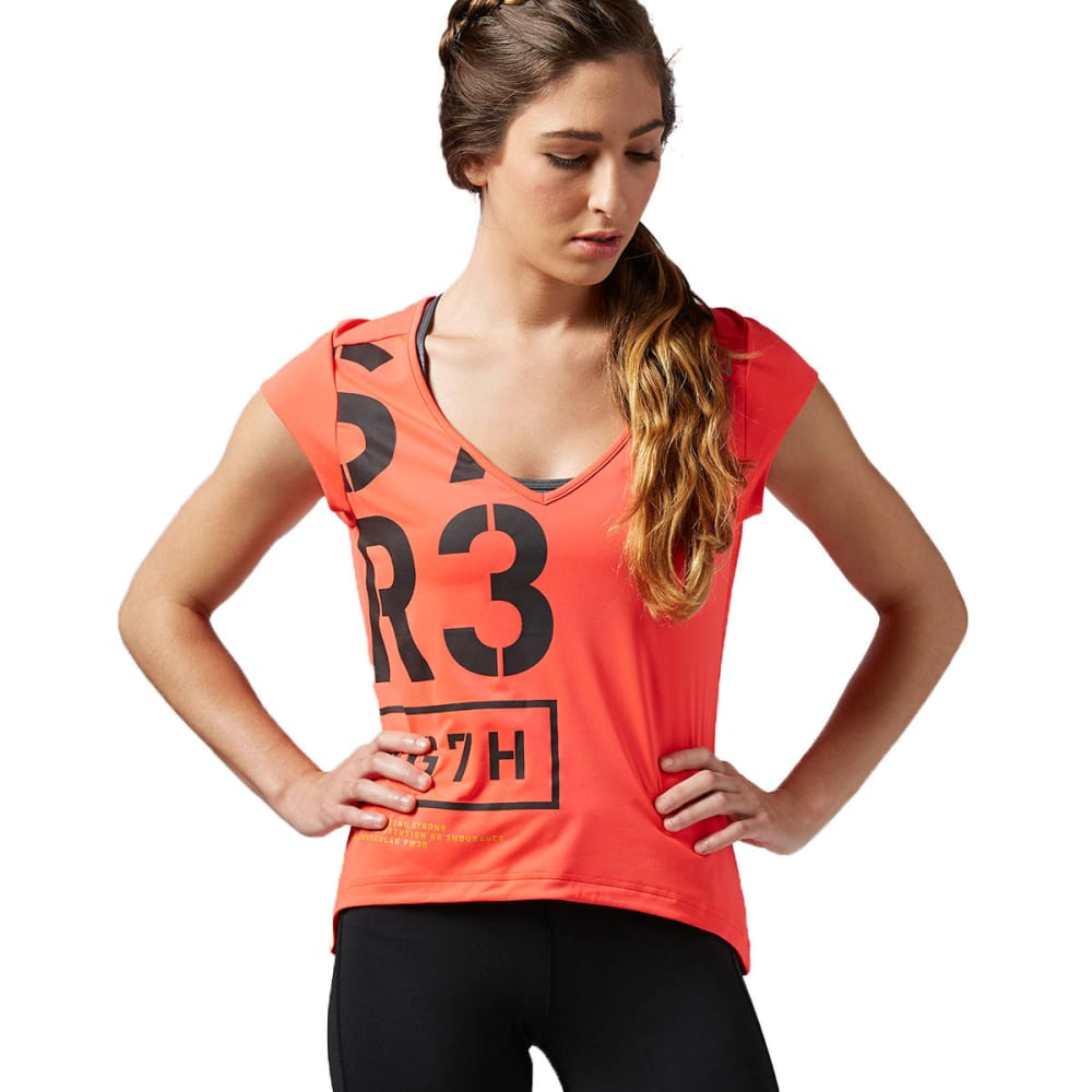 REEBOK Women's One Series V-Neck Short-Sleeve Tee - NEON CHERRY