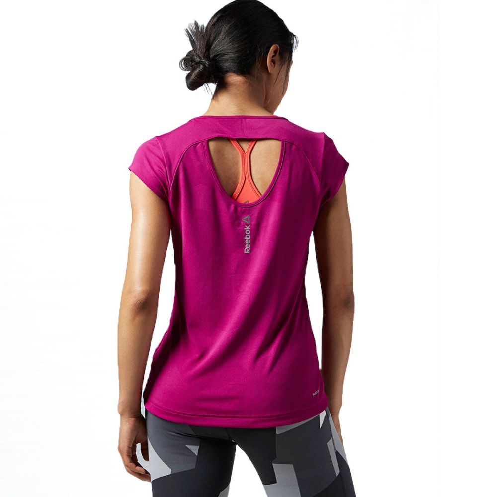 REEBOK Women's One Series V-Neck Short-Sleeve Tee - FIERCE FUSHIA