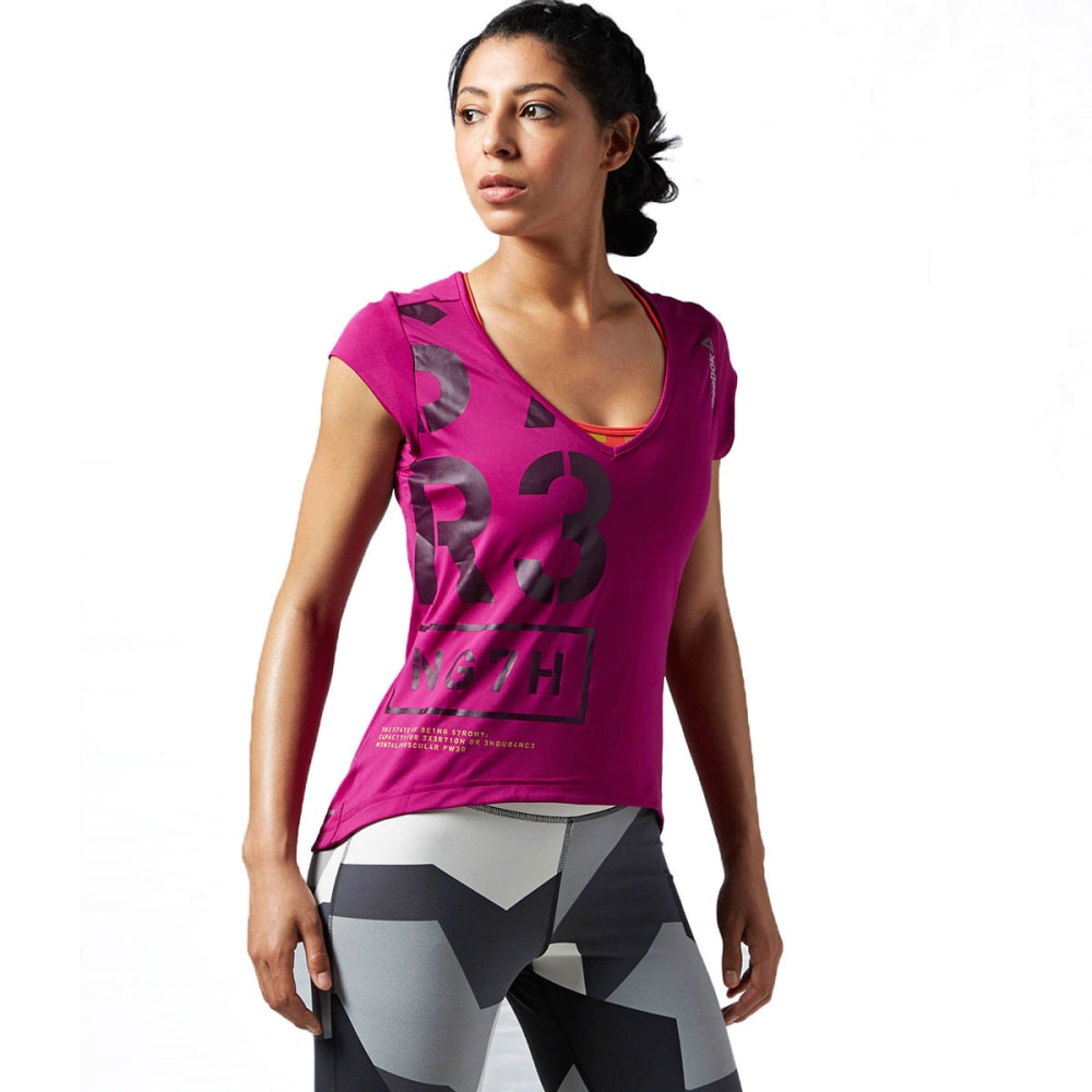 REEBOK Women's One Series V-Neck Short-Sleeve Tee - FIERCE FUSHIA
