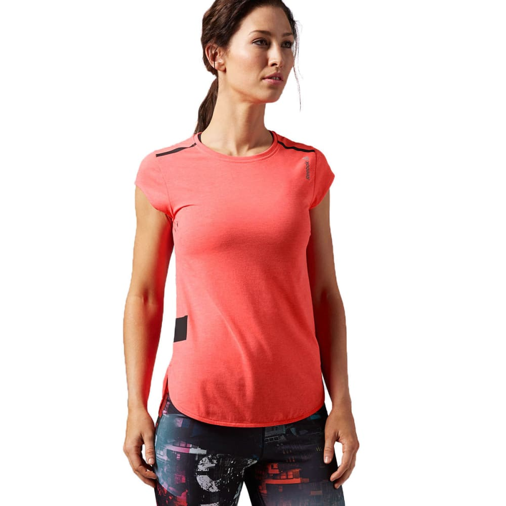 REEBOK Women's One Series QUIK Cotton Short-Sleeve Tee - FIERCE FUSHIA