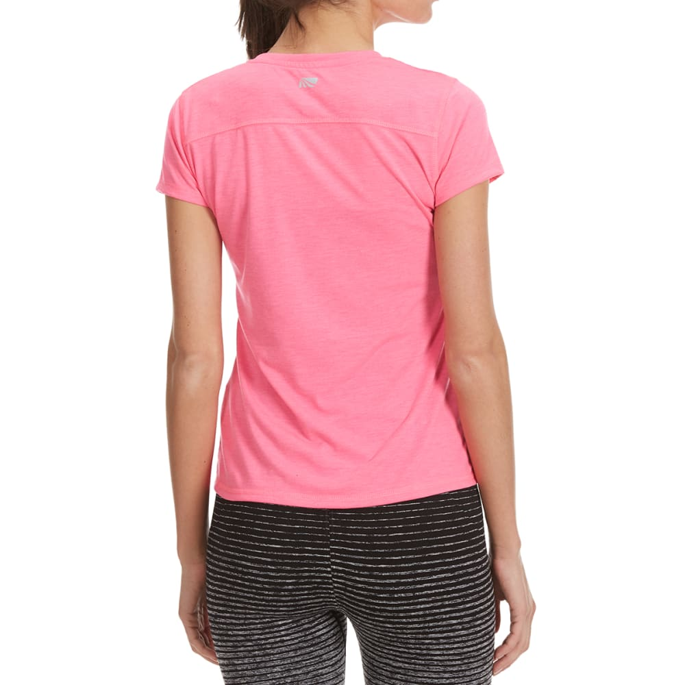 MARIKA Women's Magic V-Neck Ruched Tee - HTR PINK BLAST-2A2