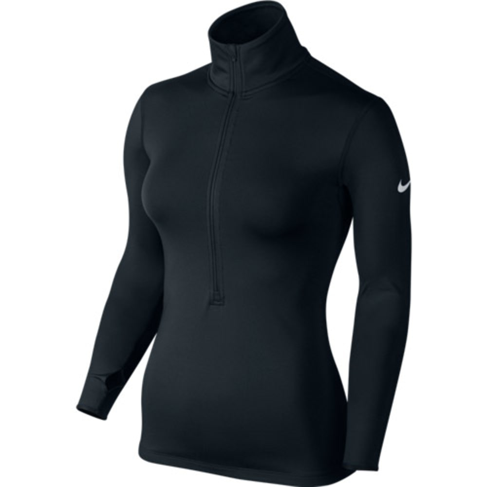 NIKE Women's Pro Hyperwarm 3.0 Half Zip Pullover - BLACK