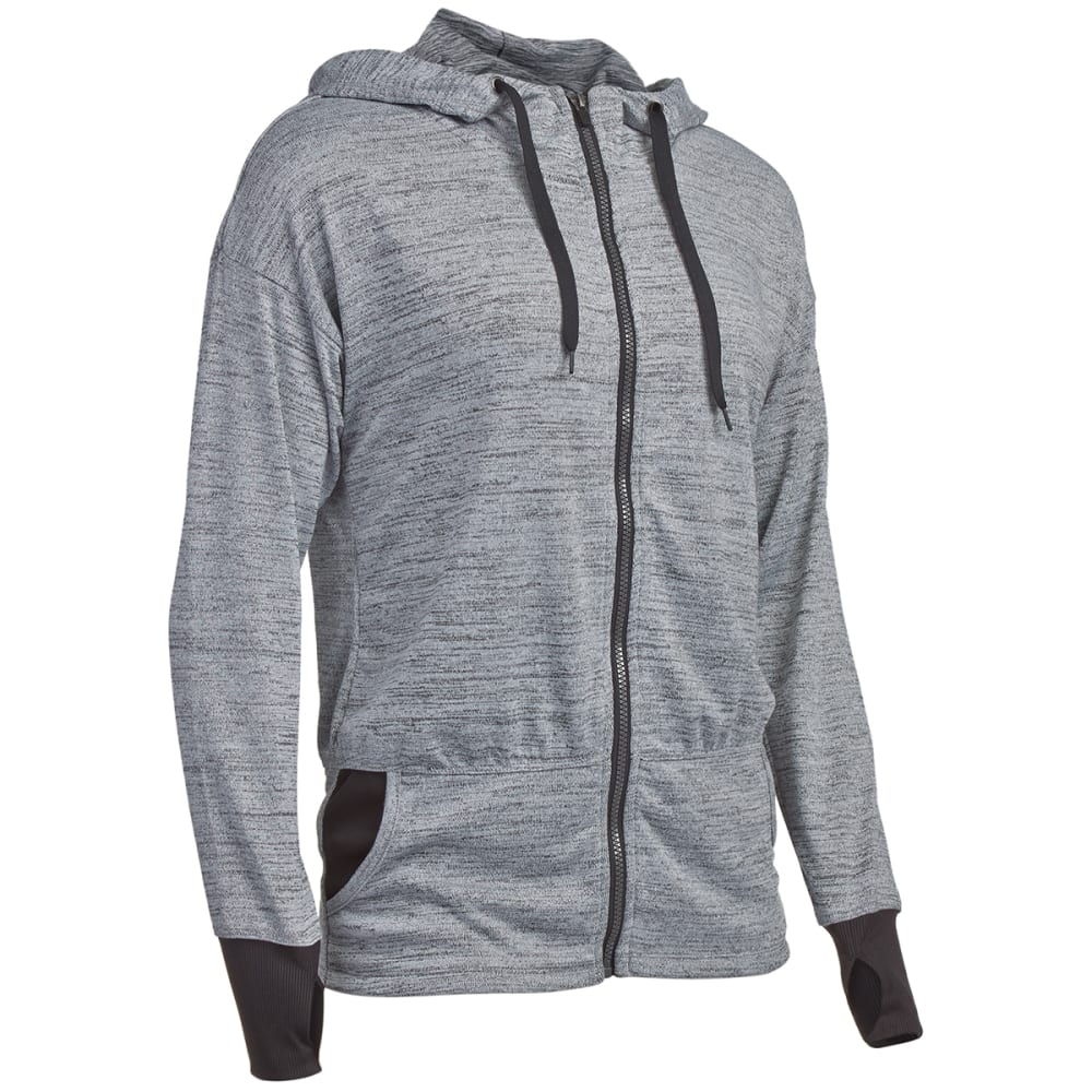RBX Women's Hacci Full-Zip Ribbed Cuff Hoodie - GREY