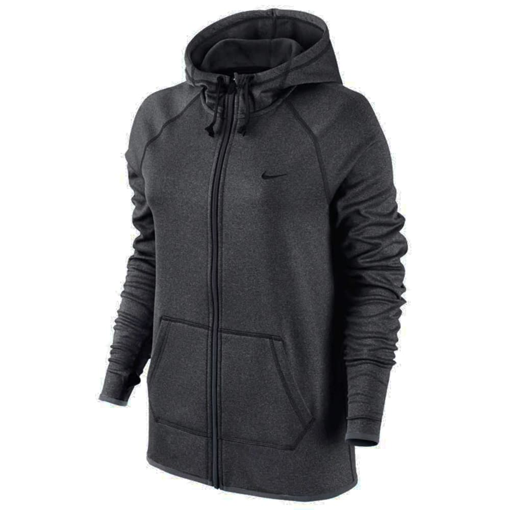 NIKE Women's All Time Full-Zip Hoodie - DARK GREY HEATHER/BL