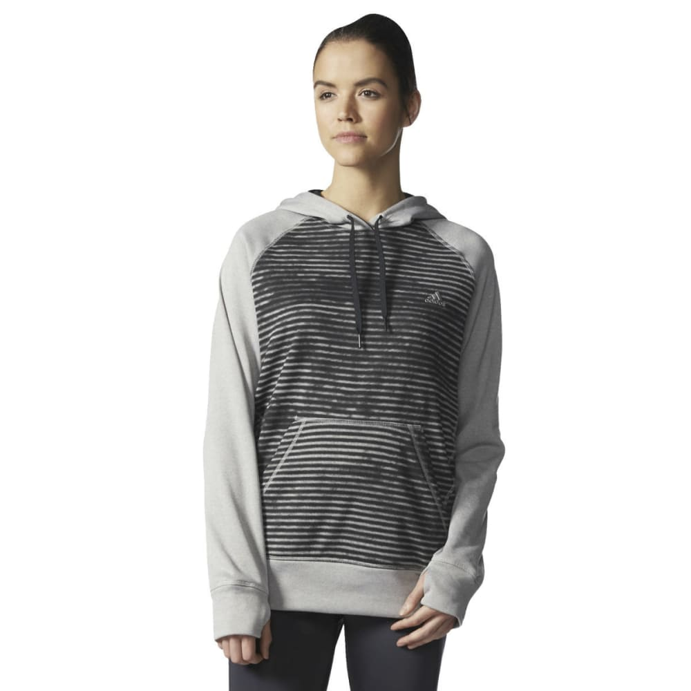 ADIDAS Women's Ultimate Fleece Pullover Hoodie - BLACK GEO BLOCK
