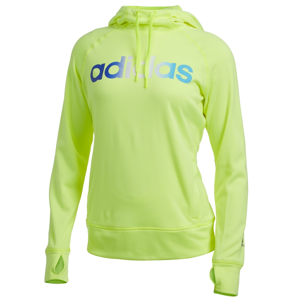 ADIDAS Women's Ultimate Fleece Logo Pullover Hoodie - SOLAR YELLOW