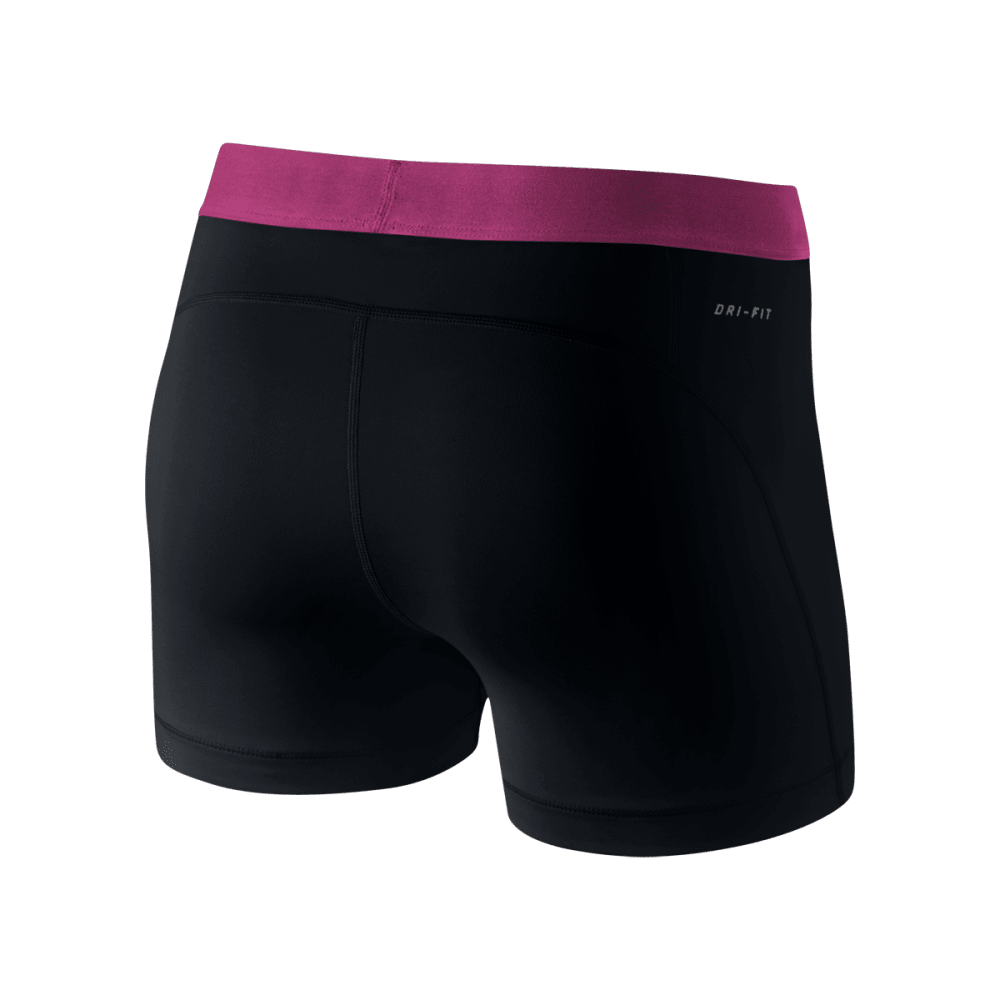 NIKE Women's Pro 3 Inch Training Shorts - BLACK/PINK-018
