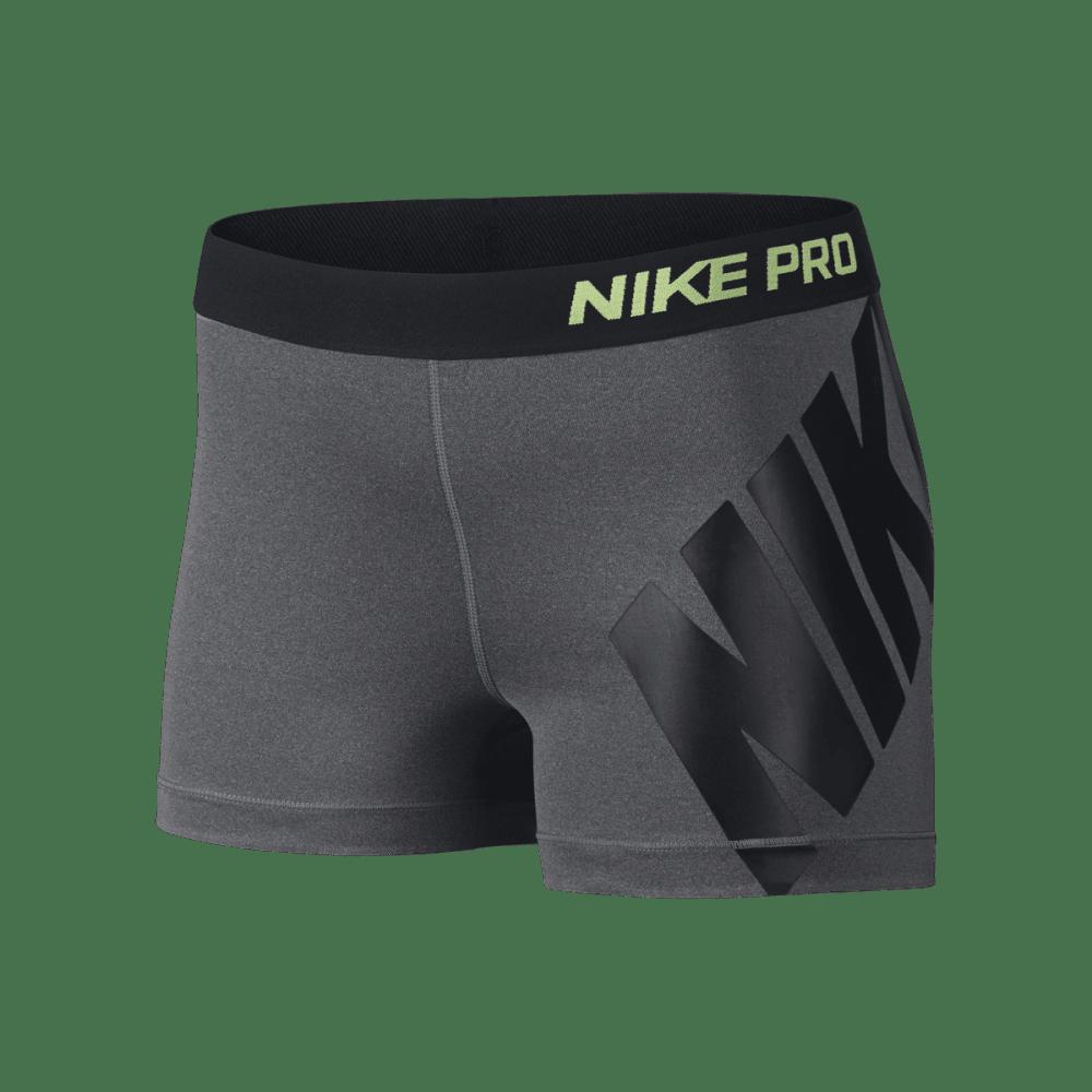 NIKE Women's Pro 3 Inch Logo Shorts - CHARCOAL