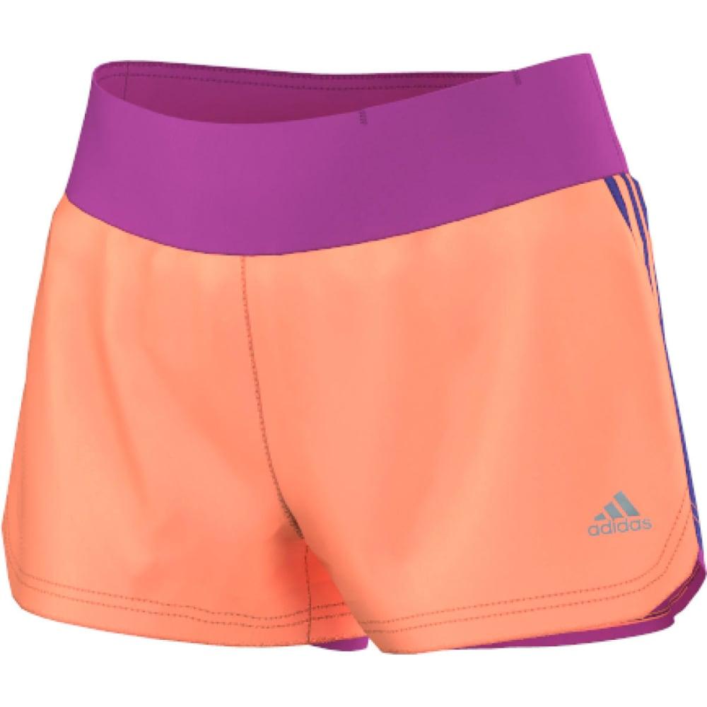 ADIDAS Women's Mia 3 Stripe Shorts - FLASH ORANGE/NIGHT F