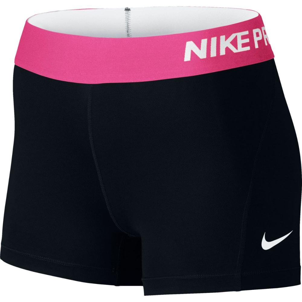 NIKE Women's Pro 3 Inch Training Shorts - BLACK/PINK-013