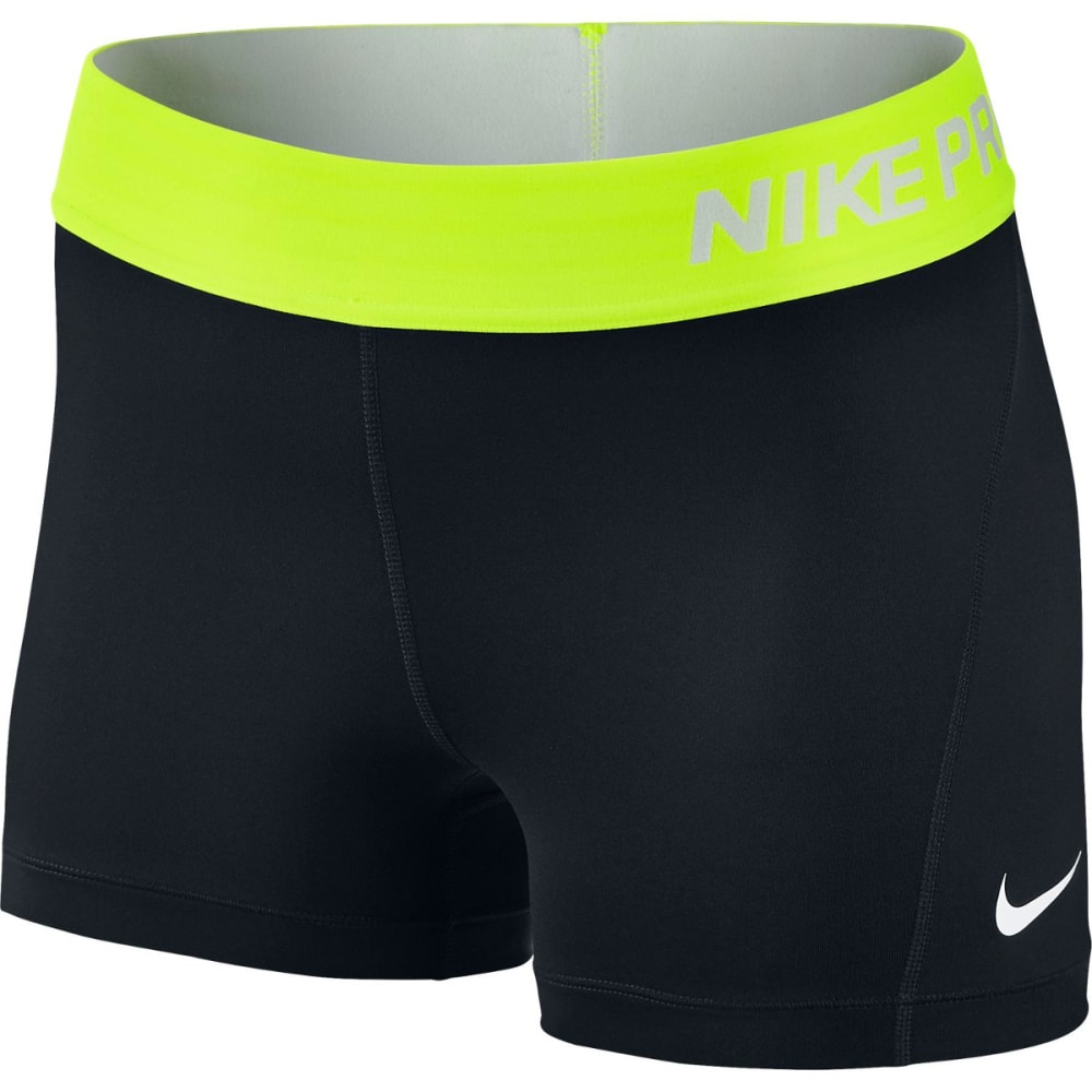 NIKE Women's Pro 3 Inch Training Shorts - BLACK/VOLT-012