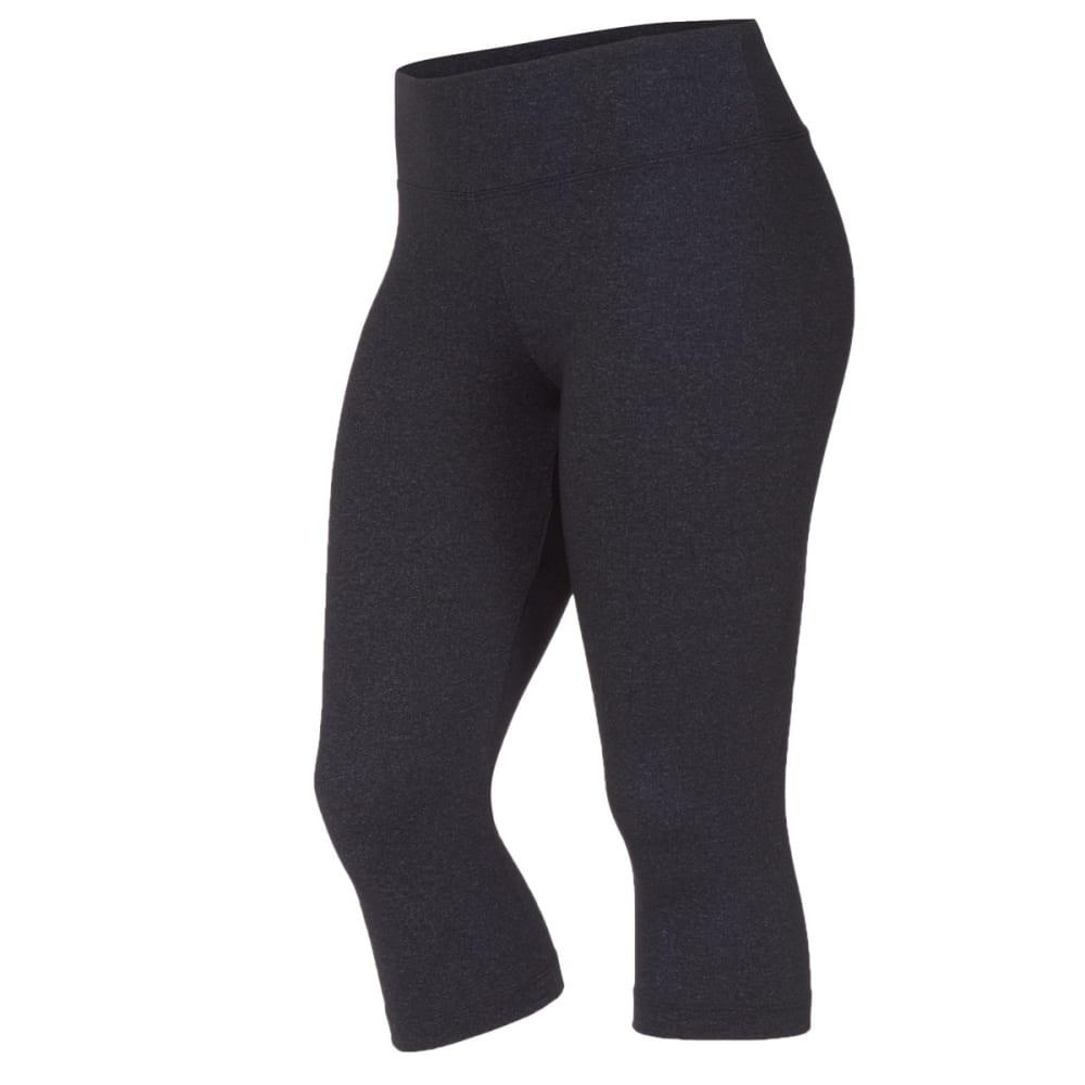 MARIKA Women's Sanded Dry-Wik Capri Leggings - HEATHER BLACK