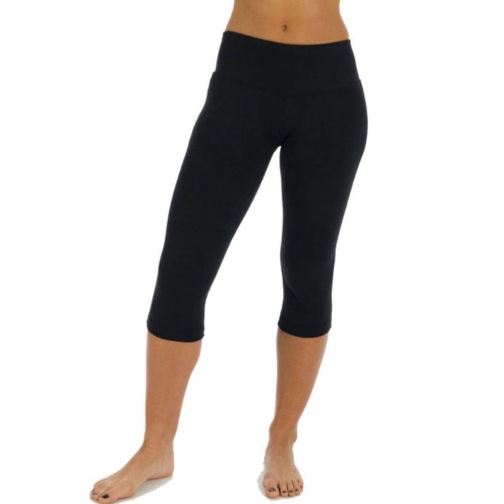 MARIKA Women's Flat Waist Yoga Capris - BLACK