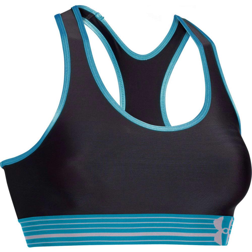 UNDER ARMOUR Women's HeatGear® Alpha Sports Bra - BLACK/PACIFIC BLUE