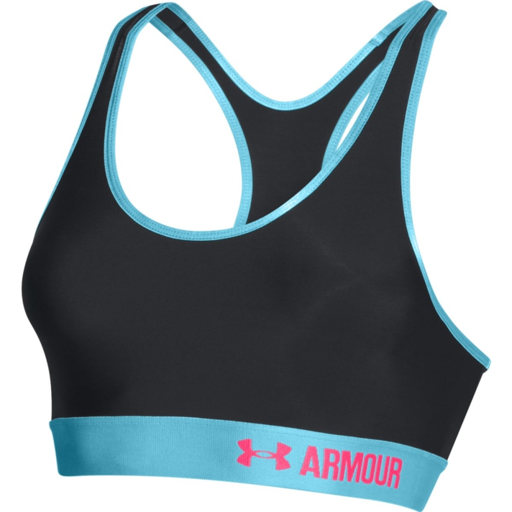 UNDER ARMOUR Women's Armour® Mid Sports Bra - BLACK/SKY BLUE/HARMO