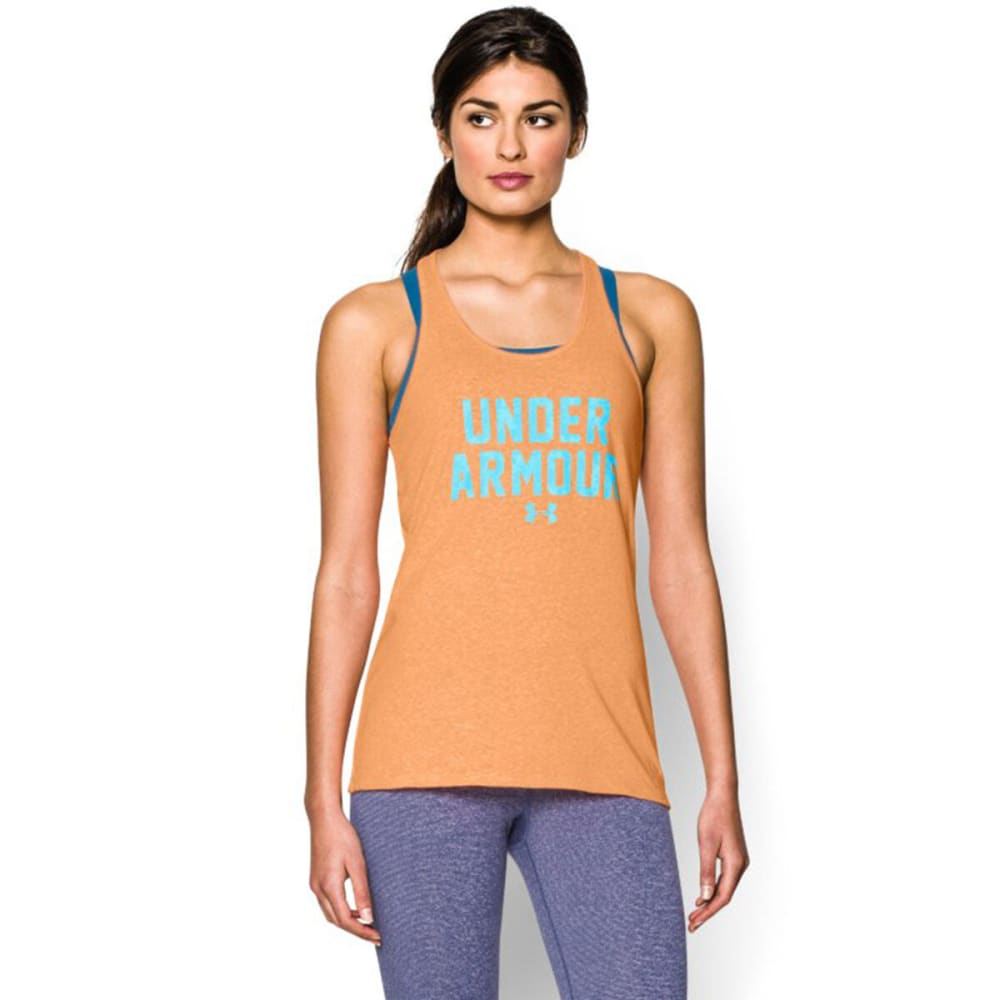 UNDER ARMOUR Women's Charged Cotton® Wordmark Tank - AFTERGLOW/ISLAND BLU
