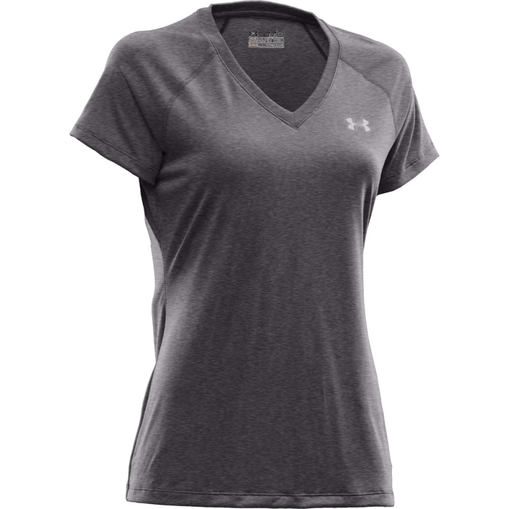 UNDER ARMOUR Women's Tech™ Short Sleeve V-Neck - CHARCOAL