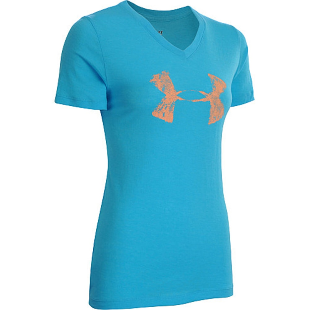 UNDER ARMOUR Women's Charged Cotton® Painted Short Sleeve V - BLUE