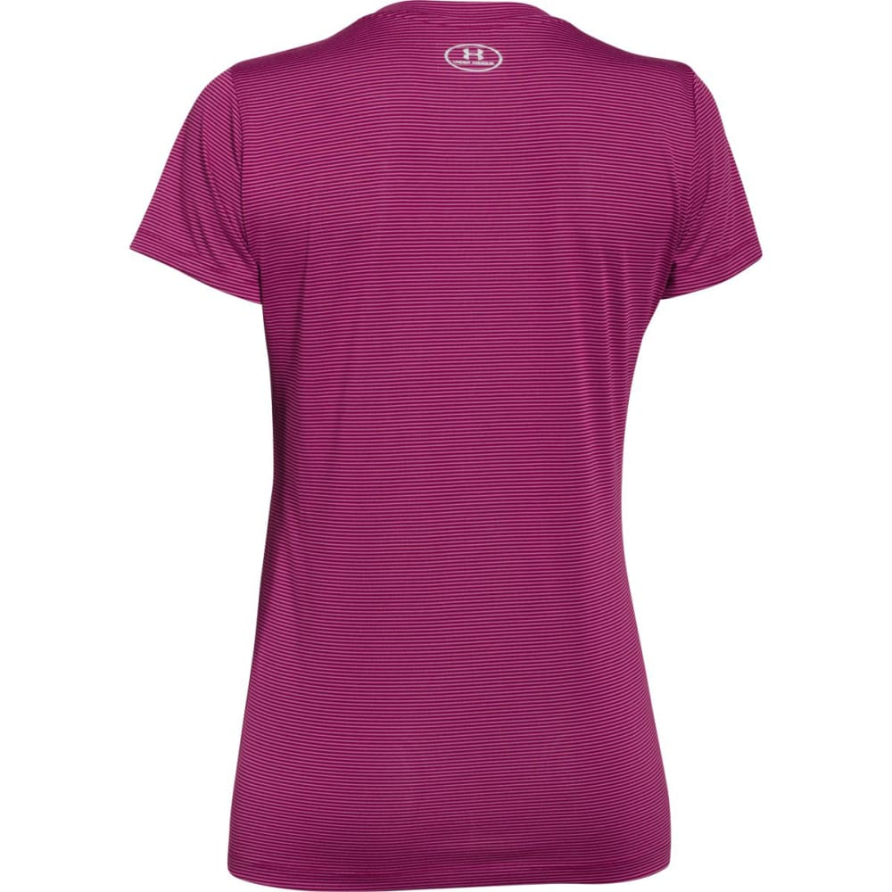 UNDER ARMOUR Women's Twisted Tech™ V-Neck - AUBERGINE STRIPE