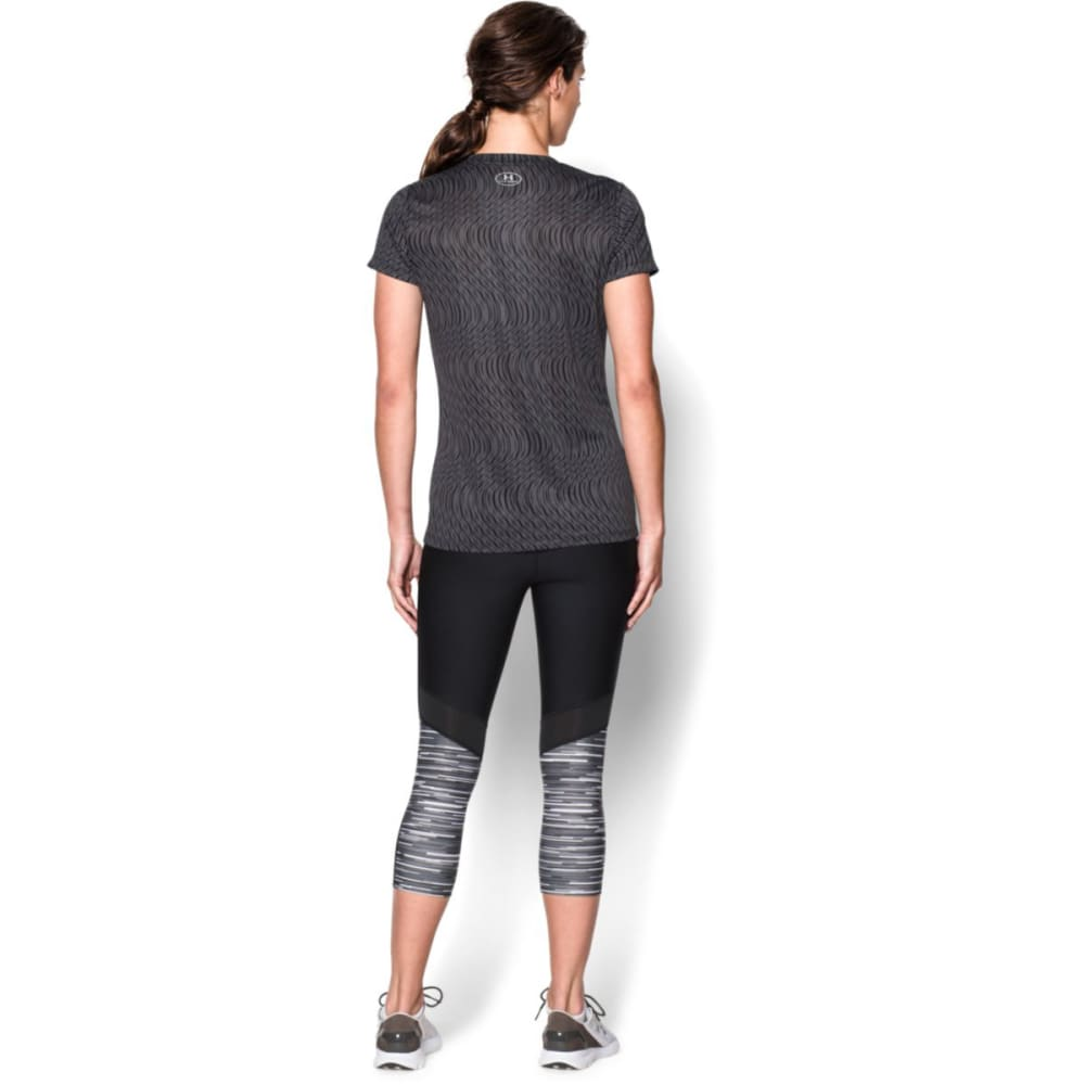UNDER ARMOUR Women's Tech V-Neck - CARBON HEATHER