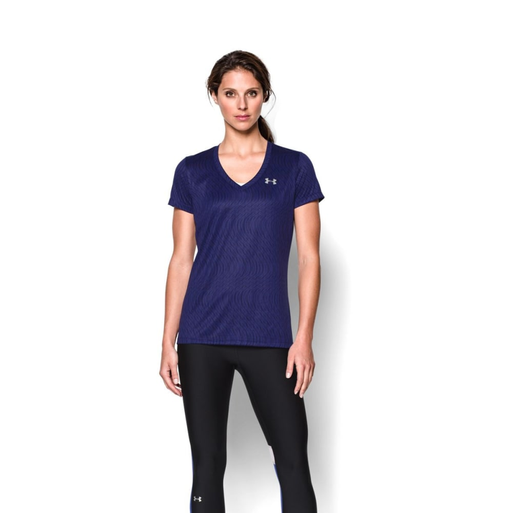 UNDER ARMOUR Women's Tech V-Neck - PURPLE
