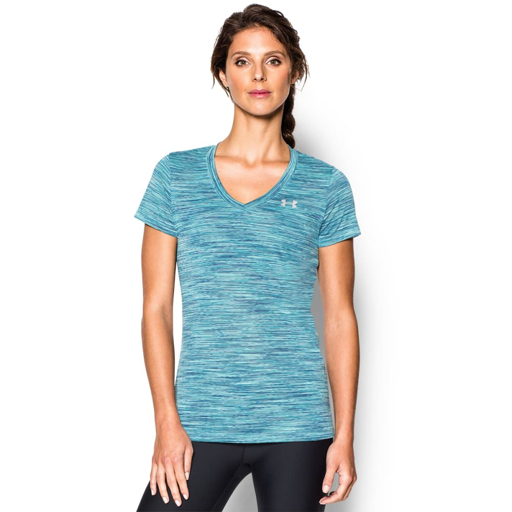 UNDER ARMOUR Women's Space Dye Tech Tee Shirt - GREEN PTRND