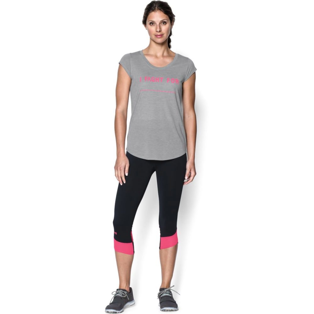 UNDER ARMOUR Women's Power In Pink® Fight For T-Shirt - TRUE GREY HEATHER