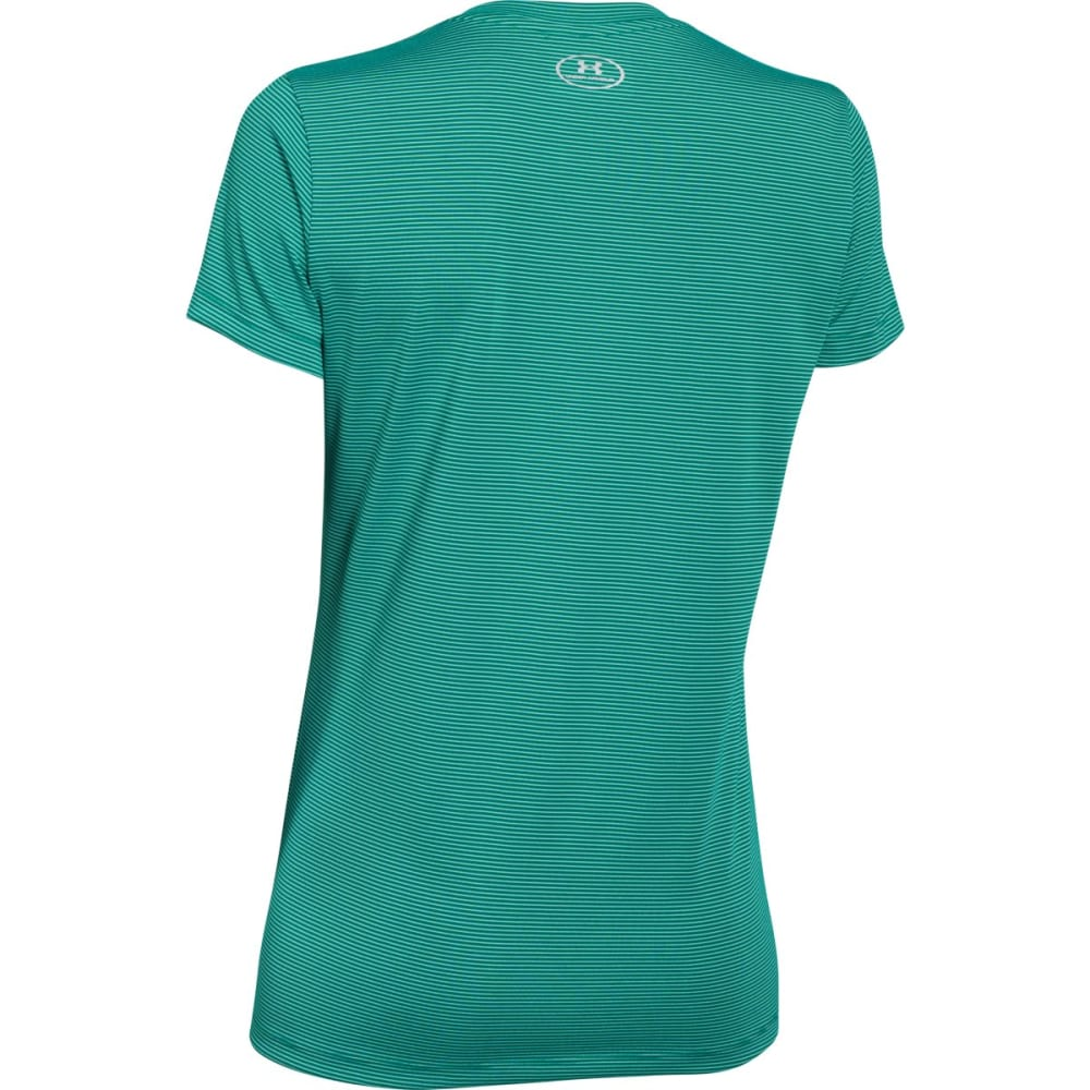 UNDER ARMOUR Women's Tech V-Neck Shirt - ALGAE