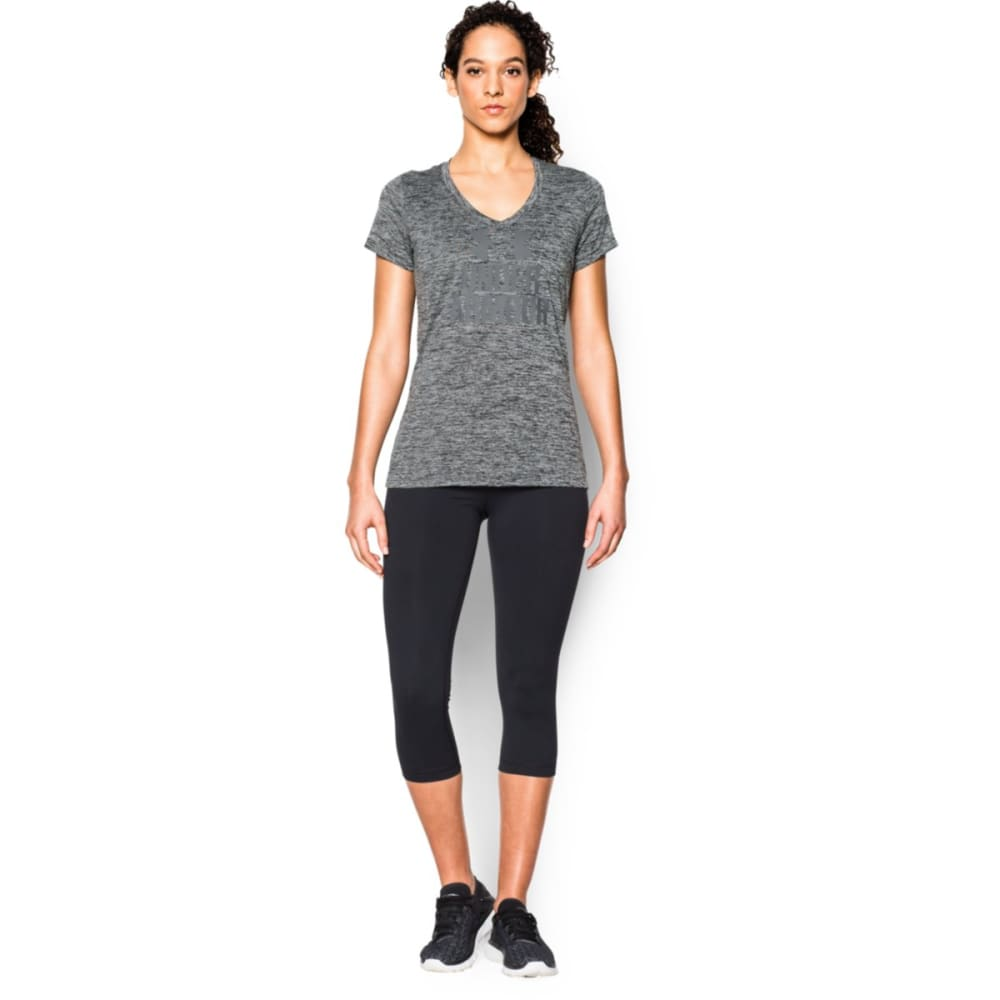 UNDER ARMOUR Women's Twisted Tech™ V-Neck Shirt - BLACK-001