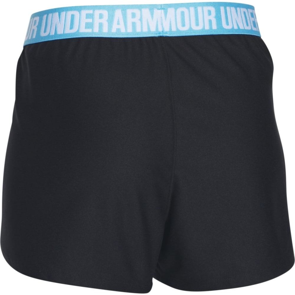 UNDER ARMOUR Women's Play Up Shorts - BLACK/SKYBLU-010