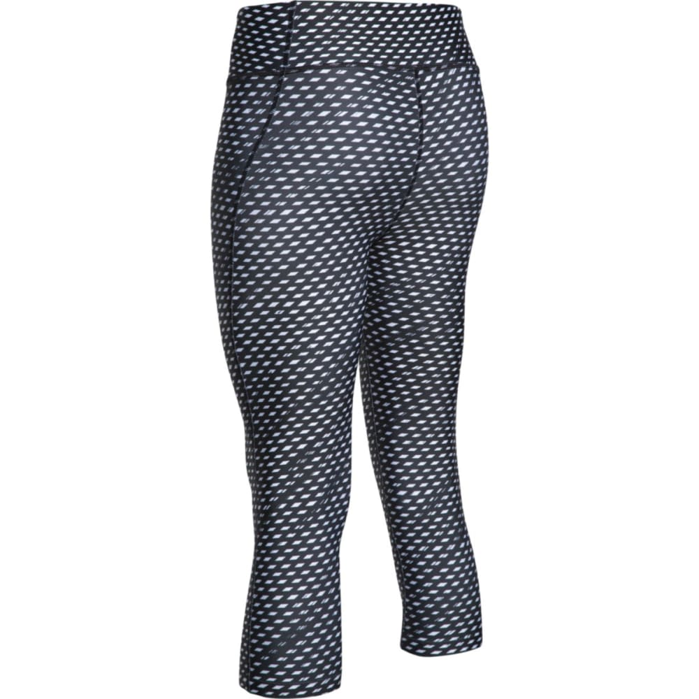 UNDER ARMOUR Women's HeatGear® Diamond Print Capris - BLACK/WHITE