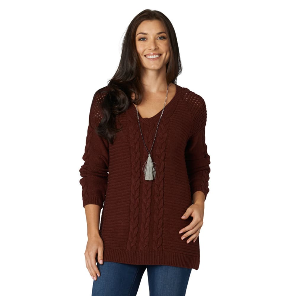 DEMOCRACY Women's Burgundy V-Neck Cable Sweater - BURGUNDY