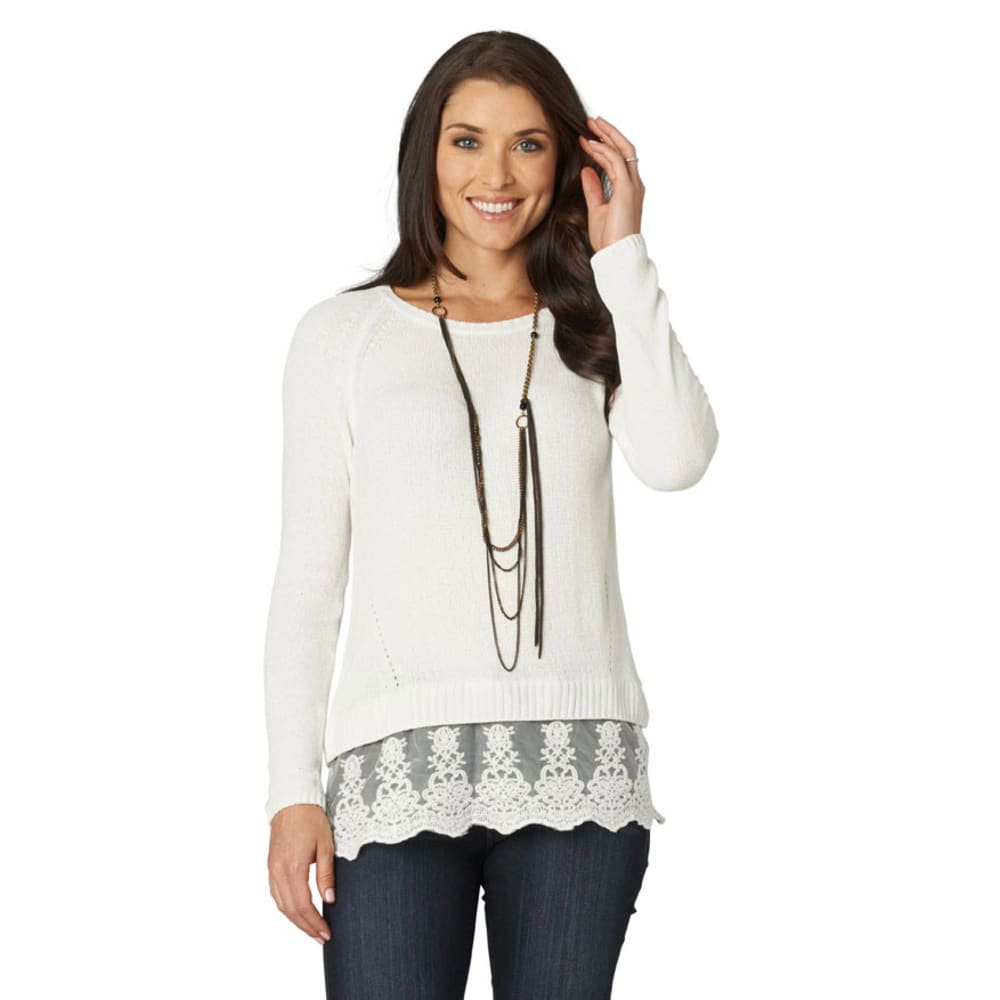 DEMOCRACY Women's Ivory Sweater with Lace Detail Hem - IVORY