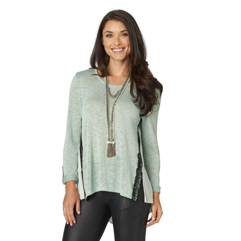 DEMOCRACY Women's Mint Roll Tab Knit Top - LIGHT TURQUOISE