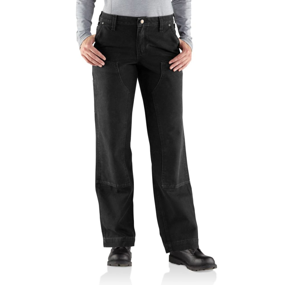 CARHARTT Women's Relaxed-Fit Sandstone Kane Dungaree - BLACK