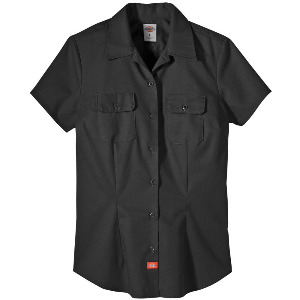 DICKIES Women's Twill Work Shirt - BLACK