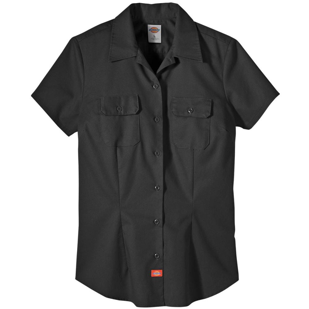 DICKIES Women's Twill Work Shirt - BLACK