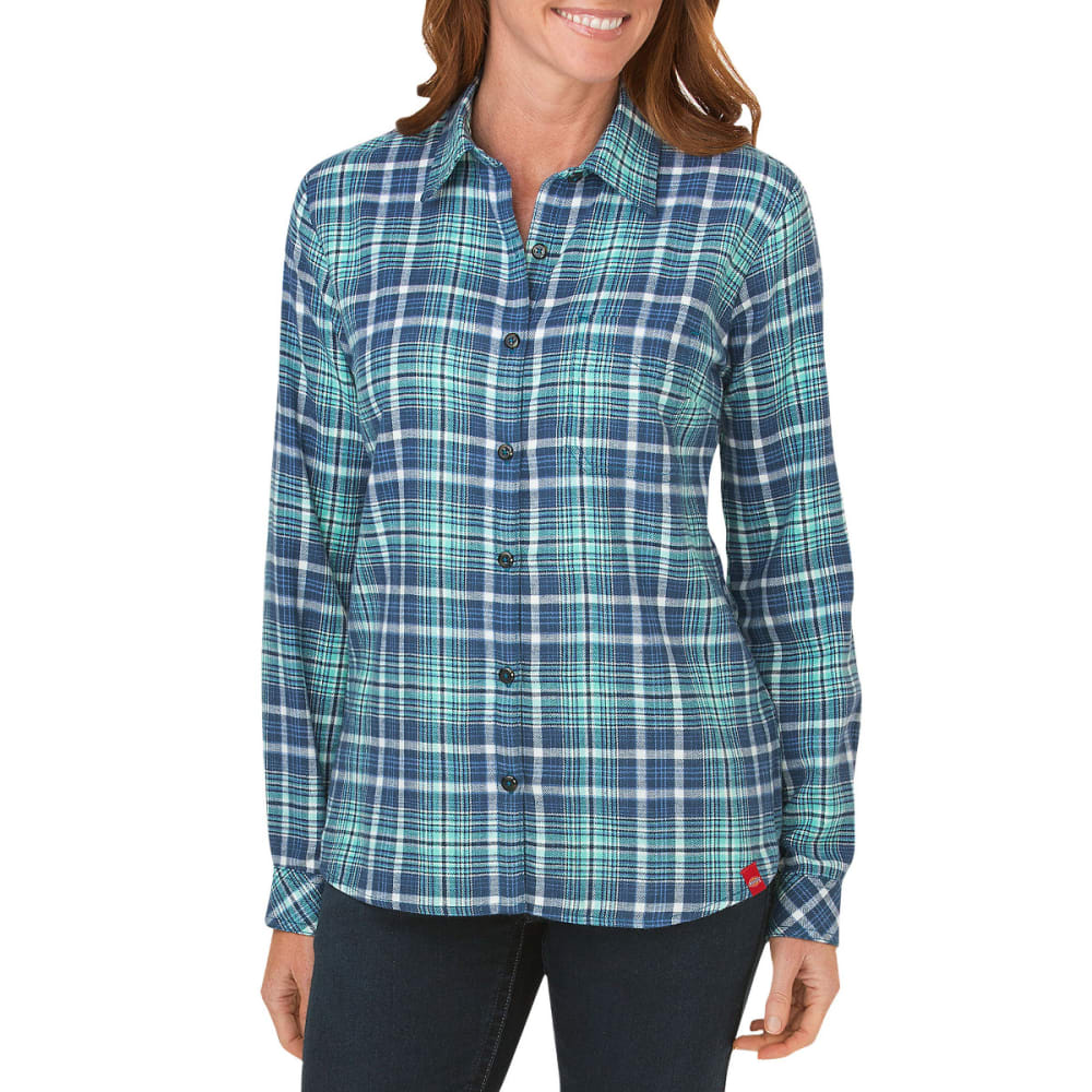 DICKIES Women's Long Sleeve Plaid Flannel Shirt - BLUE/TEAL