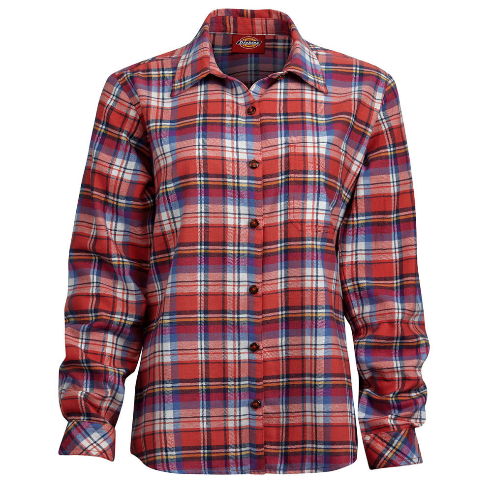 DICKIES Women's Long Sleeve Plaid Flannel Shirt - CORAL