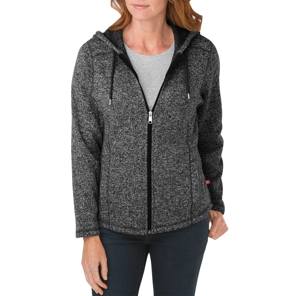 DICKIES Women's Sweater Hooded Fleece Jacket - BLACK/WHITE