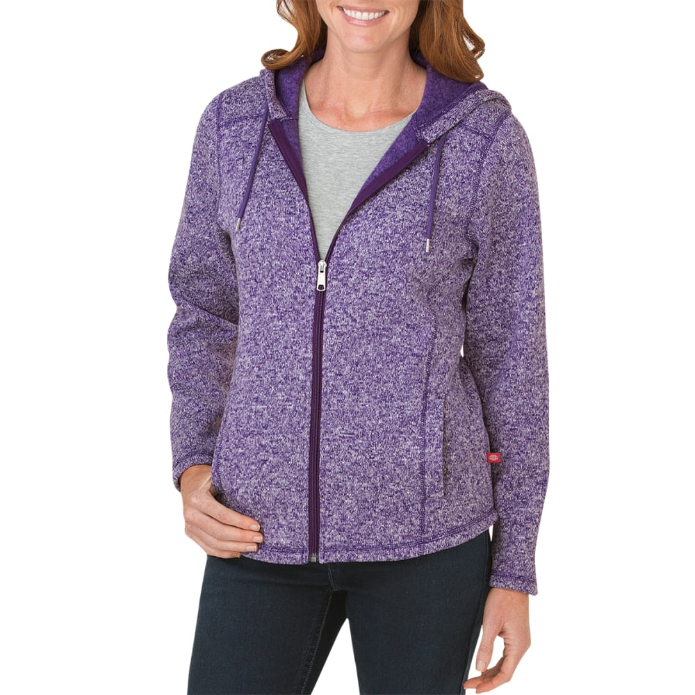 DICKIES Women's Sweater Hooded Fleece Jacket - PETUNIA/WHITE