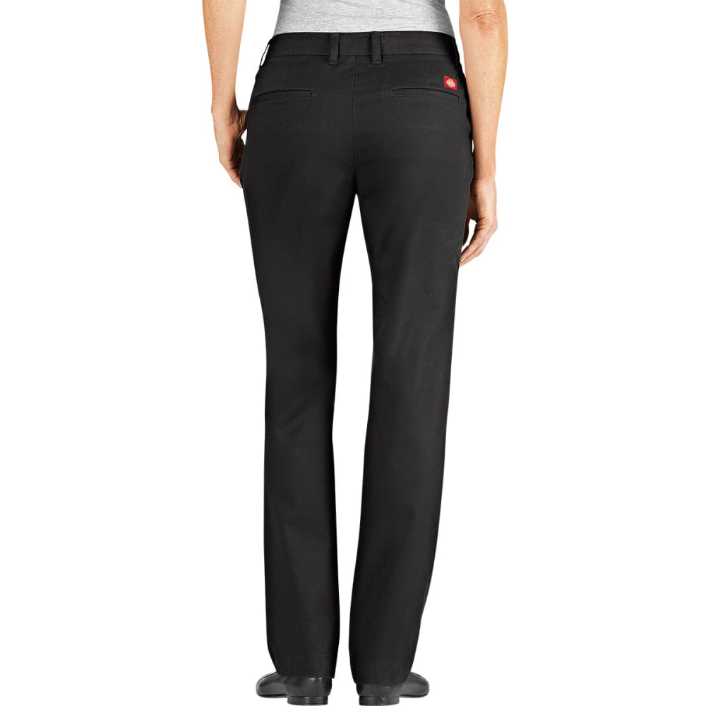 DICKIES Women's Slim Fit Straight Leg Stretch Twill Pants - BLACK