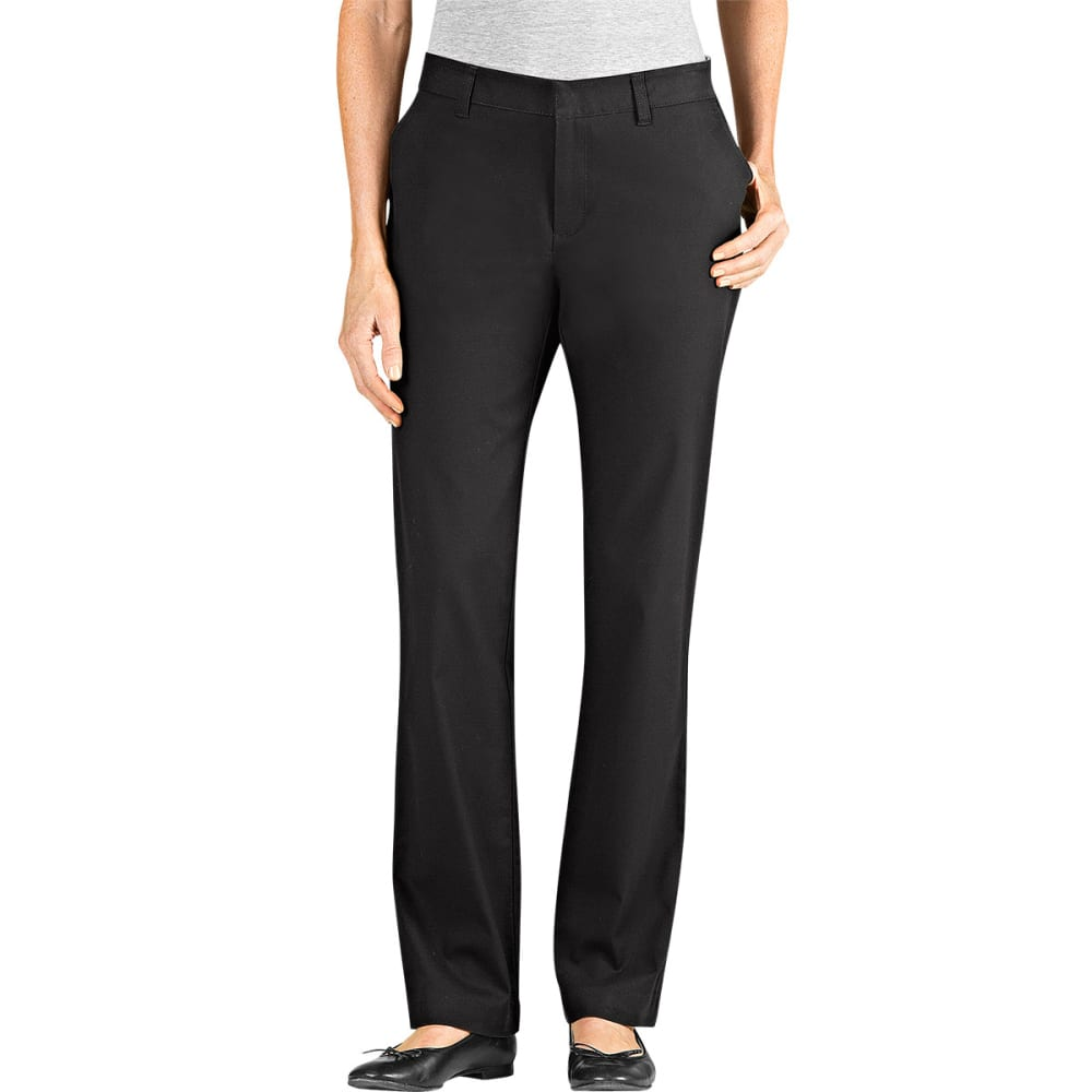 Dickies Women's Slim Fit Straight Leg Stretch Twill Pants - Black, 02/30
