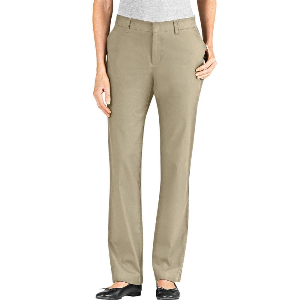 DICKIES Women's Slim Fit Straight Leg Stretch Twill Pants - DESERT SAND